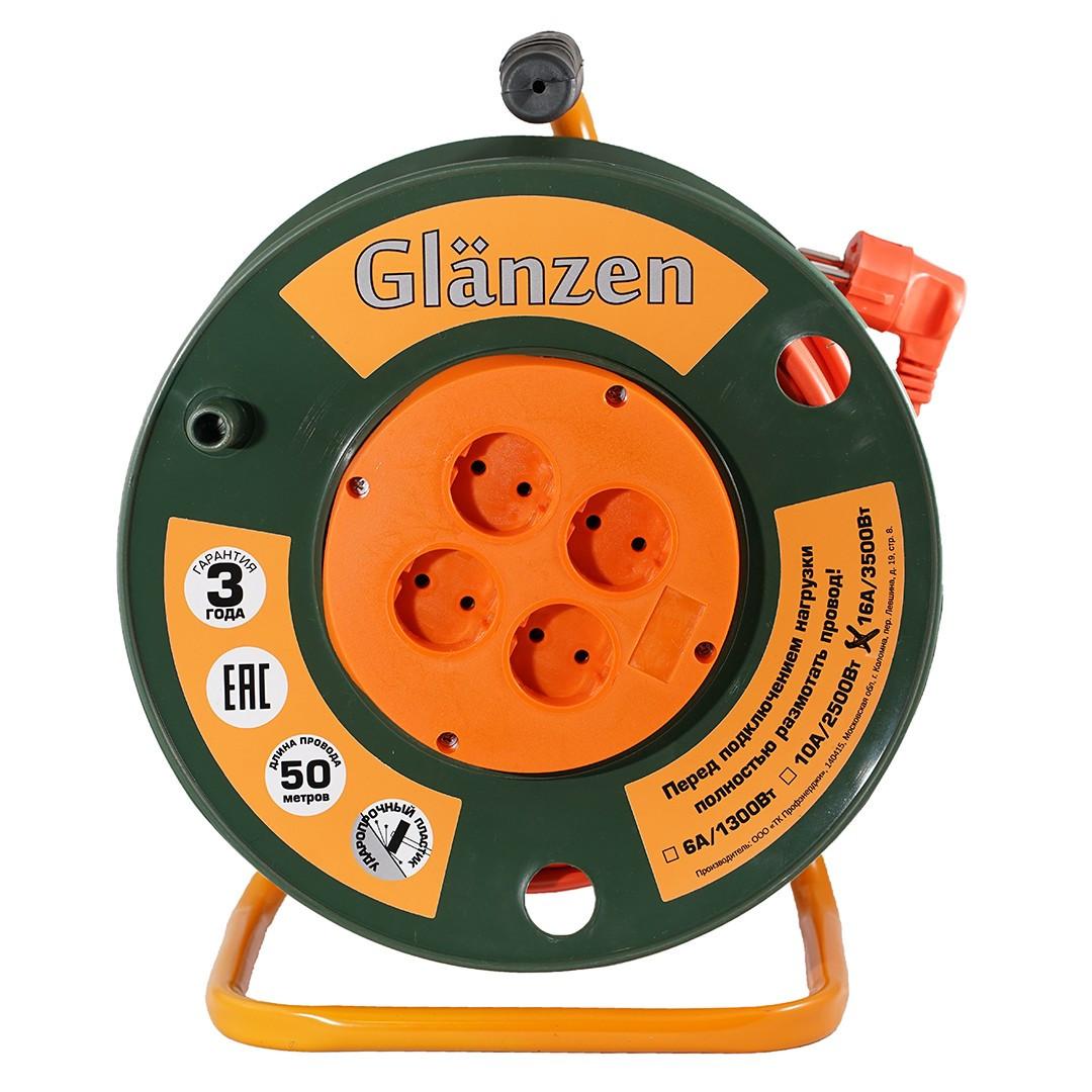 Удлинитель силовой на катушке GLANZEN 4гн. ПВС 2*2,5 арт. EB-50-008