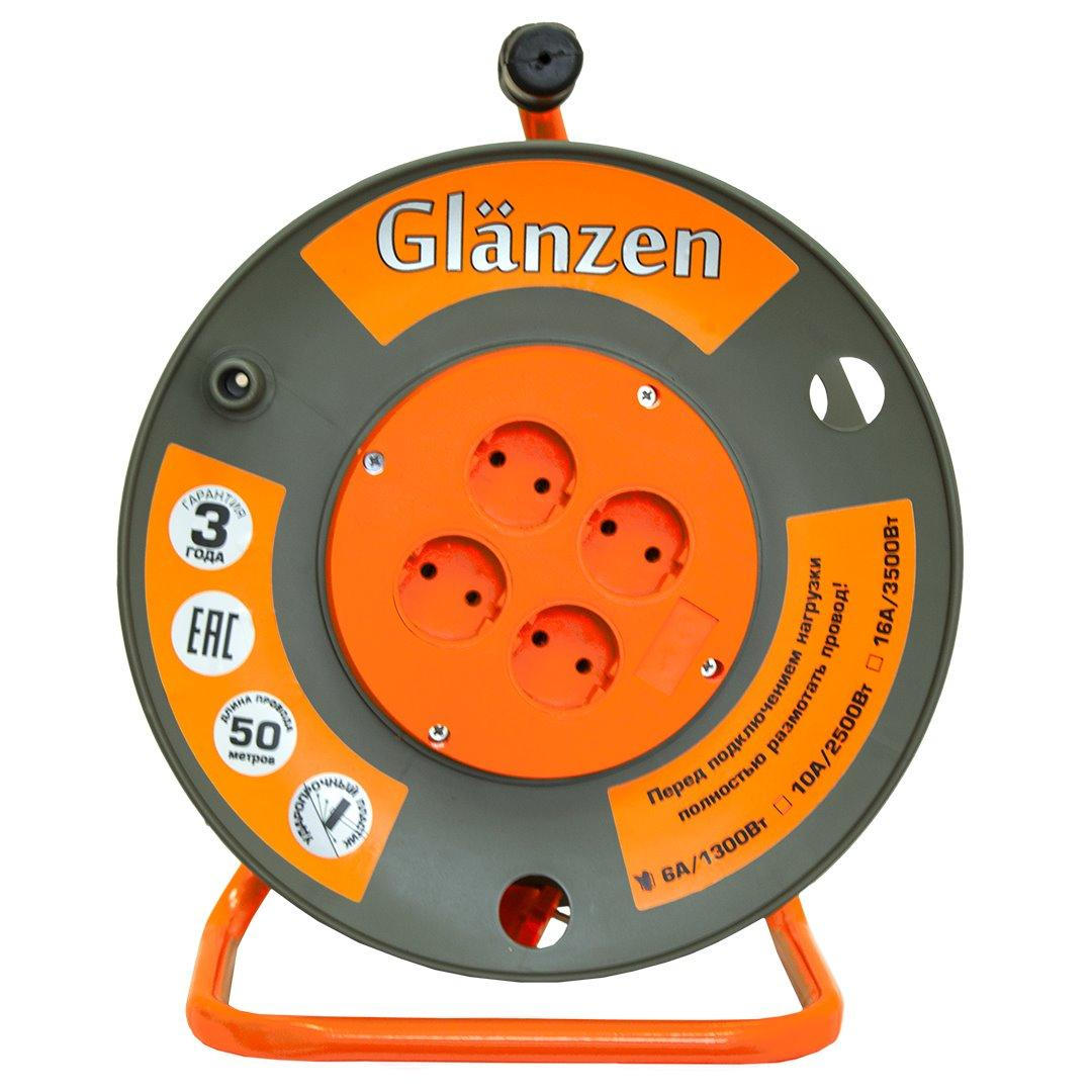Удлинитель силовой на катушке GLANZEN 4гн. ПВС 2*1,5 арт. EB-50-006