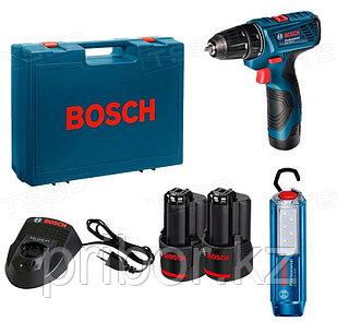 Набор с аккумуляторной дрелью-шуруповертом Bosch GSR 120 Li + фонарик GLI 12V-300 Li