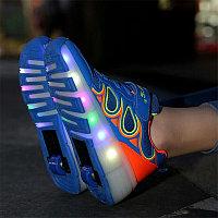 Кроссовки на роликах с подсветкой, ярко голубые wheelys, 39, 40 р, фото 1