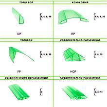 Профиль для поликарбоната соединительный неразъемный НР, прозрачный 4-6*6000 мм