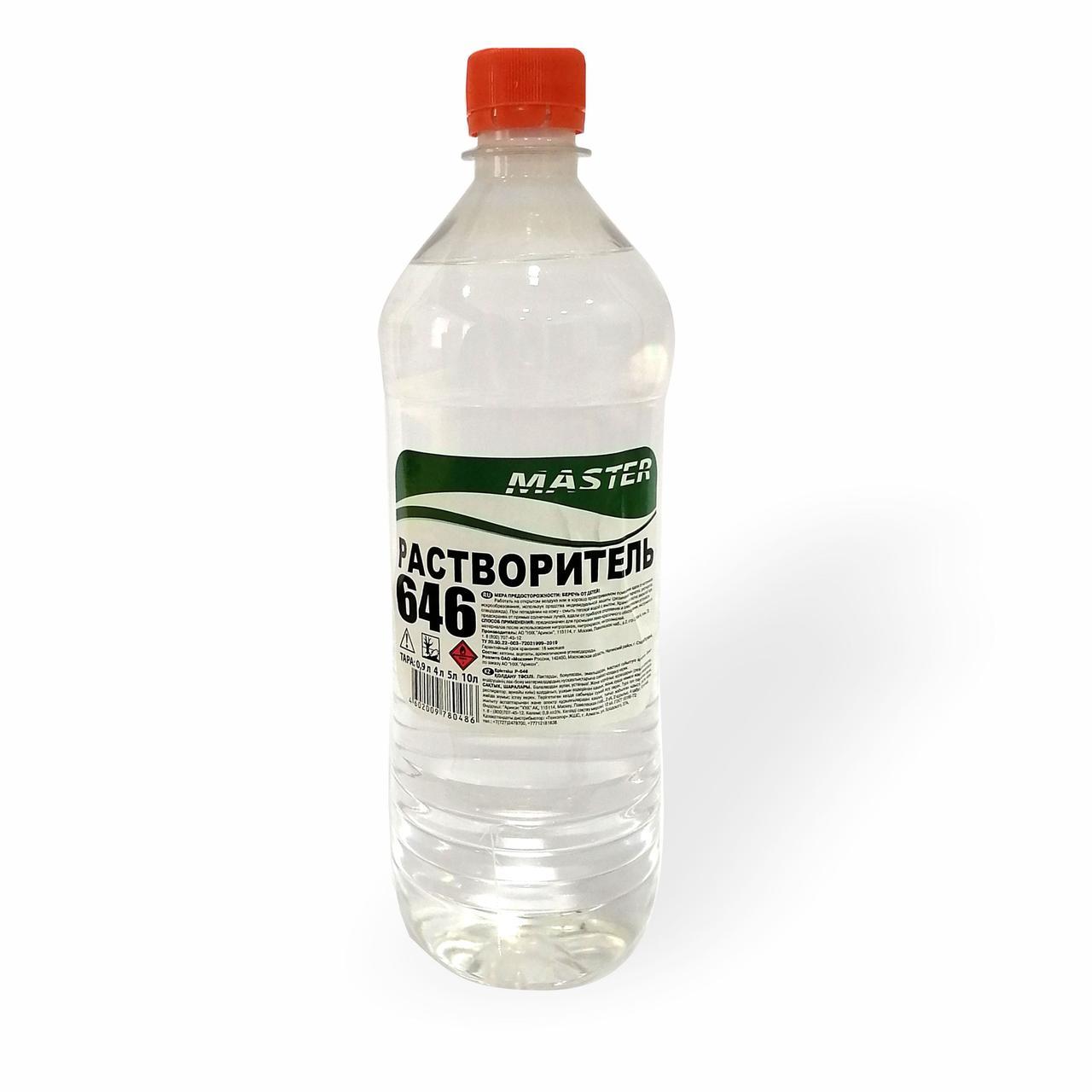 Растворитель Р-646, ТУ 20.30.22-003-7202199-2019 , в пластиковой бутылке (0,9л-0,72кг) зеленый