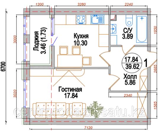 """1 ком в ЖК """"Испанский Дворик"""" 39.62 м²"""