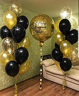 Шар гигант Золотой с конфетти и два фонтана