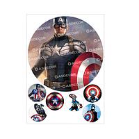 """Вафельная картинка """"Капитан Америка"""" д200.мм"""