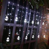 """Световая гирлянда бахрома """"Шары"""" - 2,7х1,25 метра, 12 шаров, белый свет, 8 режимов свечения"""