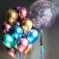 Хром шары 15 штук и шар Гигант с надписью и конфетти