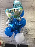Фонтан из шаров с коляской на рождение мальчика