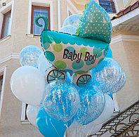 Облако из шаров с коляской на выписку для мальчика