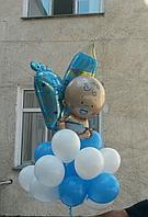 Облако шаров с фольгированными фигурами на выписку из роддома