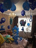 Оформление комнаты шарами для выписки из роддома