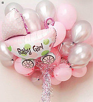 15 шаров и Коляска на выписку из роддома для девочки