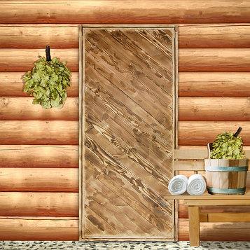 """Дверь для бани """"Диагональ"""", 190×80см, брашированная, обожжённая, """"Добропаровъ"""""""