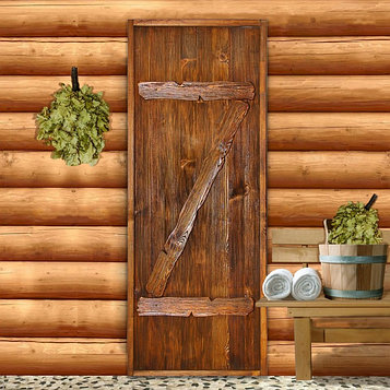 """Дверь для бани """"Классика"""" с накладками, 180×80см, брашированная, морёная, лакированная"""