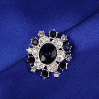 Пуговица декоративная, 22 x 20 мм, цвет синий (комплект из 2 шт.)