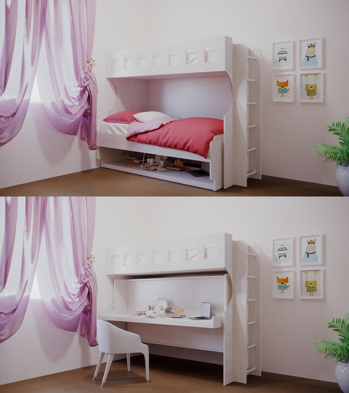 """Трансформер Стол-двухъярусная кровать """"Bambini"""" Бодега"""