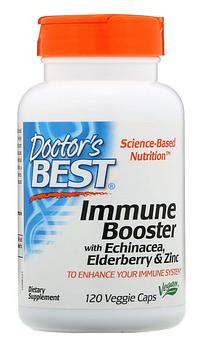Doctor's Best, Добавка для укрепления иммунитета с эхинацеей, бузиной и цинком, 120 растительных капсул
