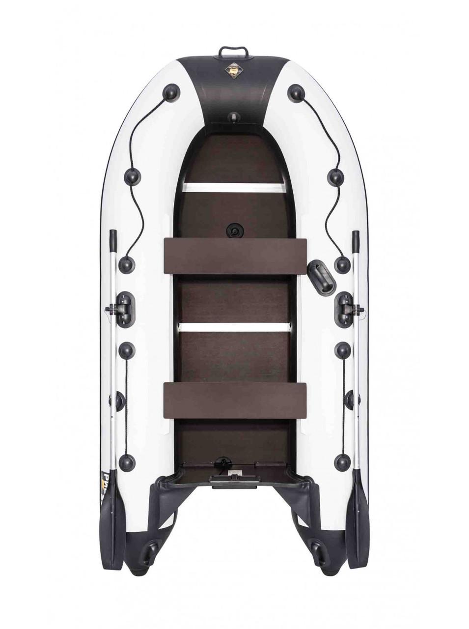 Лодка Ривьера Компакт 2900 СК касатка светло-серый/черный