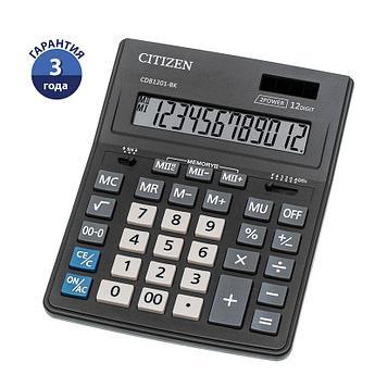 Калькулятор настольный Citizen Business Line CDB, 12 разр., двойное питание, 157*200*35мм, черный