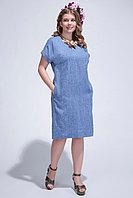 Летнее платье, лен, 54-58, синее, полуприлегающее