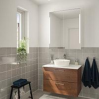 ГОДМОРГОН/ТОЛКЕН / КАТТЕВИК Комплект мебели для ванной,5 предм., под коричневый мореный ясень, под мрамор