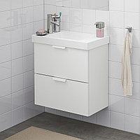 ГОДМОРГОН / ХАГАВИКЕН Шкаф для раковины с 2 ящ, белый, ДАЛЬШЕР смеситель, белый/ДАЛЬШЕР смеситель 63x34x65 см
