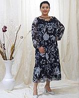 Вечернее шифоновое черное платье с принтом белых цветов