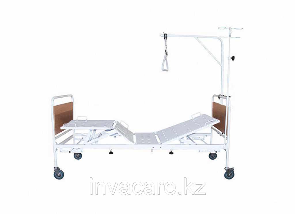 Кровать медицинская функциональная четырехсекционная КМФ4-01(на колесах d. 125, 2 кол. с торм., спинки прямоуг. со вставками из ЛДСП ложе-перфорир.