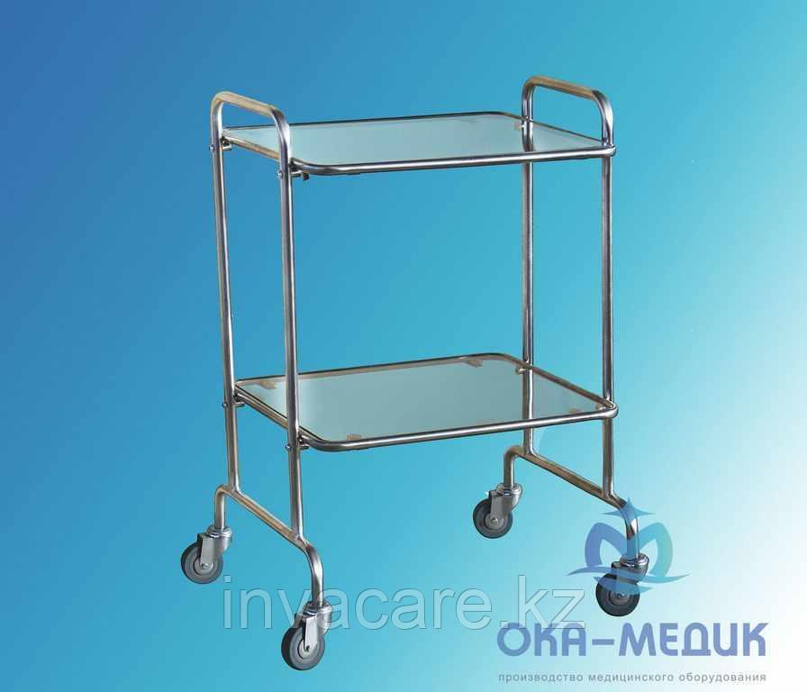 Столик мед.Инструментальный СМи-5-«Ока-Медик»(стекло/стекло,меб кол.d50, каркас сталь с покрытием)