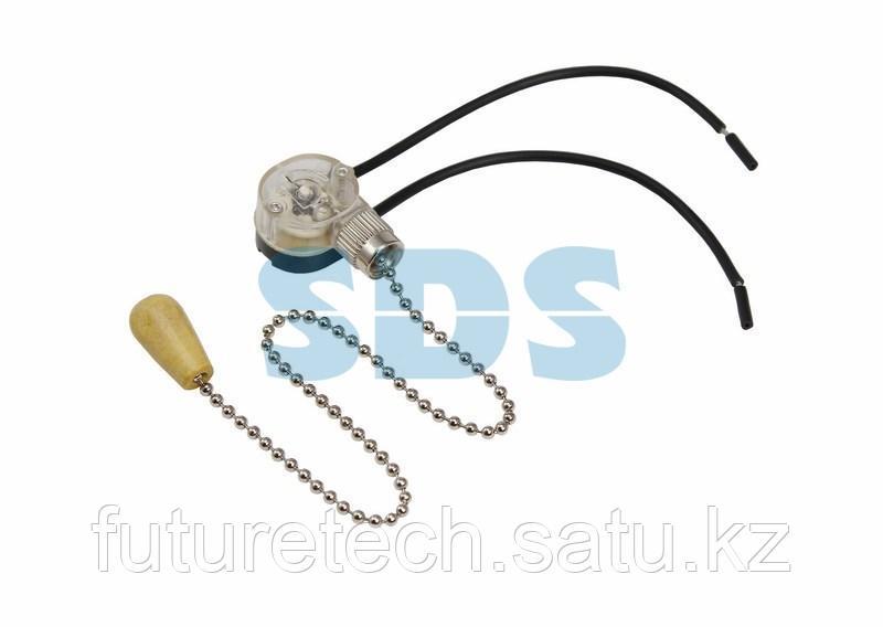 Выключатель для настенного светильника c проводом и деревянным наконечником «Silver» REXANT - фото 1