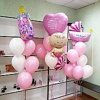 Оформление комнаты шариками на выписку из роддома для дочки
