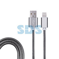 USB кабель для iPhone 5/6/7/8/Х моделей, черный в металлической оплетке, 1 м REXANT