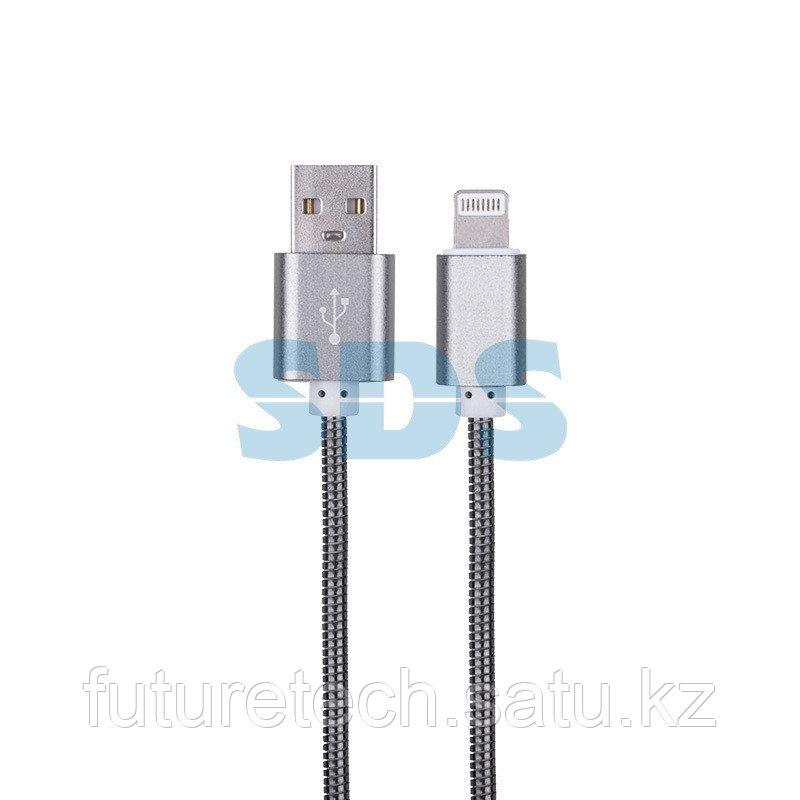 USB кабель для iPhone 5/6/7/8/Х моделей, черный в металлической оплетке, 1 м REXANT - фото 3