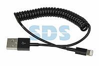 USB кабель для iPhone 5/6/7 моделей шнур спираль 1 м черный