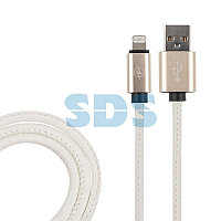 USB кабель для iPhone 5/6/7/8/X моделей, белый эко-кожа, 1 метр REXANT