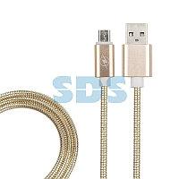 USB кабель micro USB, золото металл, 1 метр REXANT