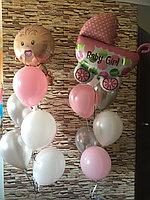 Два фонтана из шаров с Малышом и Коляской в розовом цвете. На выписку из роддома для девочки