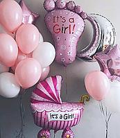 Оформление шарами на выписки из роддома на рождение девочки. Заказать шары Нур-Султан