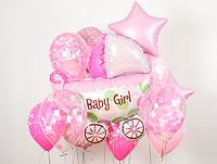 Коляска и Гелиевые шары в розовых цветах на выписку из роддома для девочки