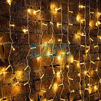 """Гирлянда """"Светодиодный Дождь"""" 2х1,5м,  постоянное свечение,  прозрачный провод,  230 В,  диоды ТЕПЛЫЙ БЕЛЫЙ,  192 LED"""
