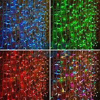 """Гирлянда """"Светодиодный Дождь"""" 2х1,5м,  прозрачный провод,  230 В,  диоды RGB,  300 LED свечение с динамикой при приобретении контроллера 245-907"""
