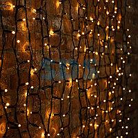 """Гирлянда """"Светодиодный Дождь"""" 2х1,5м, постоянное свечение, черный провод """"КАУЧУК"""", 230 В, диоды ЖЁЛТЫЕ,"""