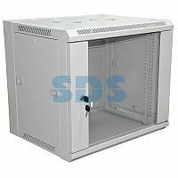 """19"""" Настенный шкаф Rexant 6U 600×450×370 мм (ШxГxВ) - передняя дверь стекло, боковые стенки съемные"""