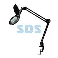 Лупа на струбцине REXANT, круглая, 5D, с подсветкой 56 SMD LED, черная