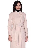 Пальто демисезонное, велюр, 40-50, ванильное, полуприлегающее