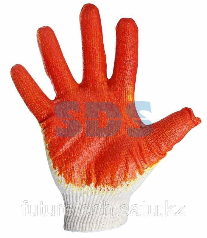 Перчатки х/б с одинарным латексным покрытием, 5 нитей, 36 г, 10 класс вязки, красного цвета - фото 1