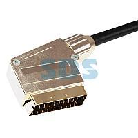 Шнур SCART - SCART (21 Pin), длина 3 метра (GOLD-металл) REXANT 3563