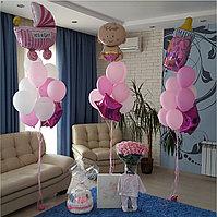 Большие фонтаны из шаров в Розовом цвете на выписку из роддома. Оформление комнаты на рождение девочки