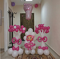 Шары на выписку: Цветы из шаров, Малыш, гелиевая Ножка на выписку с роддома