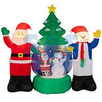 """3D фигура надувная """"Дед Мороз и Снеговик"""", диаметр шара 120 см, общий размер 210 см, с подсветкой,"""
